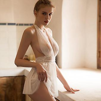 New Fairy Nightdress Sexy Solid Color Lace Temptation Women Pajamas Embroidered