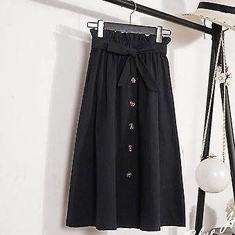 Summer Autumn Womens Knee Length Korean School Skirt