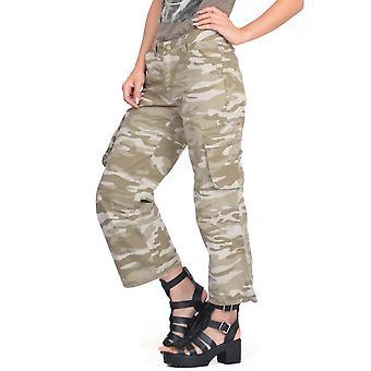 Long Camouflage Cargo Shorts - Beige