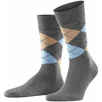 Burlington Manchester Socks - Asphalt/Beige
