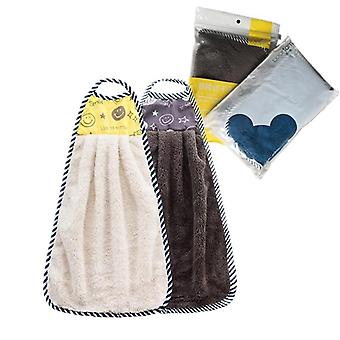 2pcs Microfiber Hand Towel Hanging Kitchen Handkerchief For Hands Bathroom