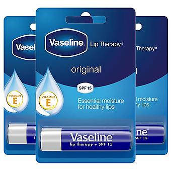 3x of 4g, Vaseline Lip Therapy Essential Moisture Original Balm Stick With SPF15