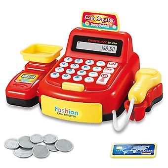 Simulation Pretend Foldable Cash Register Play Toy With Coins And Scanner