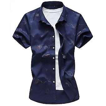 Yunyun Mens Vogue Floral Print Hawaiian Shirt  Short Sleeves Button Down Shirt Plus Size