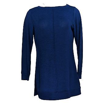 Denim & Co. Women's Petite Top Active Brushed Heavenly Jersey Azul A384021