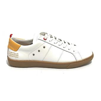 Men's Ambitious Sneaker Shoe 11490 In White Leather/ Yellow Us21am06