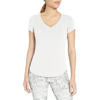 Brand - Core 10 Women's Soft Pima Cotton Stretch V-Neck Yoga Short Sleeve T-Shirt, Black L (12-14)