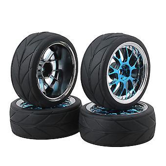 4x Modrý tvar Y Náboj Koleso Ráfik Šípka Zrnité pneumatiky pre 1:10 RC Model Auto