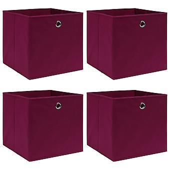 vidaXL Aufbewahrungsboxen 4 Stk. Dunkelrot 32×32×32 cm Stoff