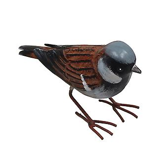 Primus Grand ornement de jardin d'oiseau de moineau de maison en métal