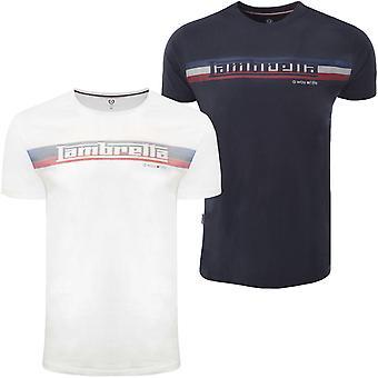 Lambretta Mens Logo Stripe Crew Neck Cotton T-Shirt Tee Top - White