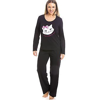 Camille черный полная длина киска кошка мотив для пижамы набор