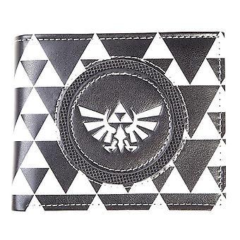 Nintendo - Hyrule Royal Crest Badge With All-Over Pattern Unisex Bi-Fold Wallet - Black/White