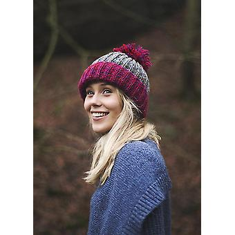 Hand Knitted Contrast Brim Bobble Hat
