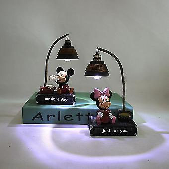 2pcs Mickey Minnie Small Night Light Lamp Resin Home Ornaments