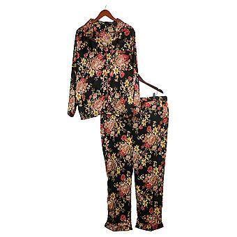 Tolani Coleção Women's Pajama Set Impresso Botão Tecido Preto A390127