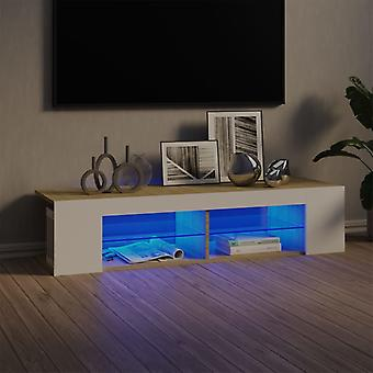 vidaXL TV-kaappi LED-valoilla Valkoinen Sonoman tammi 135x39x30 cm