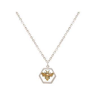 Gemshine halsband bi på honungskaka, 925 silver eller guld pläterad - Tillverkad i Spanien