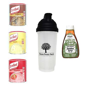 Seven Trees Farm Kit with 5 products | 1 x Choco, 1 x Banana, 1 x Strawberry Shakes, 1 x Shaker and 1 x Golden Syrup, Be skinny and healthy!