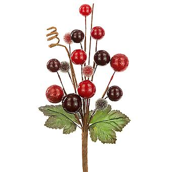 20cm Mixed Berry Pick for Floristry Crafts - Cranberry