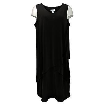 سوزان غرير اللباس السائل العادي متماسكة بلا أكمام الطبقات الأسود A377870