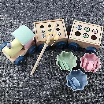 Kids Interactive Wooden Magnetic Games Fishing Catch Worm Baby Early