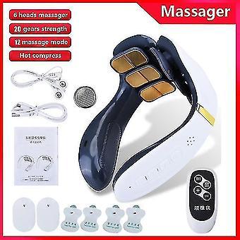 Massagers 6 head cervical massager remote control hot compress neck massager electric pulse neck shoulder