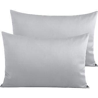 Kissenbezüge 2 Pack Soft Kuschel und atmungsaktiver Umschlagverschluss Standard Kissenbezüge Hellgrau