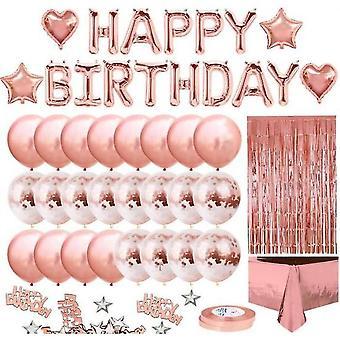 34pcs Anniversaire Pink Balloon Kit Guirlande Joyeux Anniversaire Rose Gold Nappe