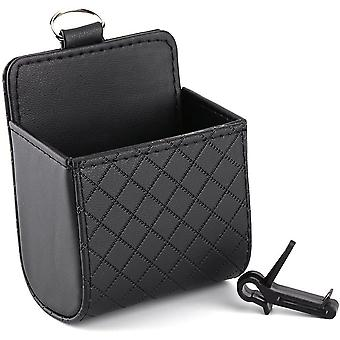 Car Auto Seat Back Interior Air Vent Cell Phone Holder Pouch Bag Box Tidy Storage Coin Bag Case Organizer With Hook (black)