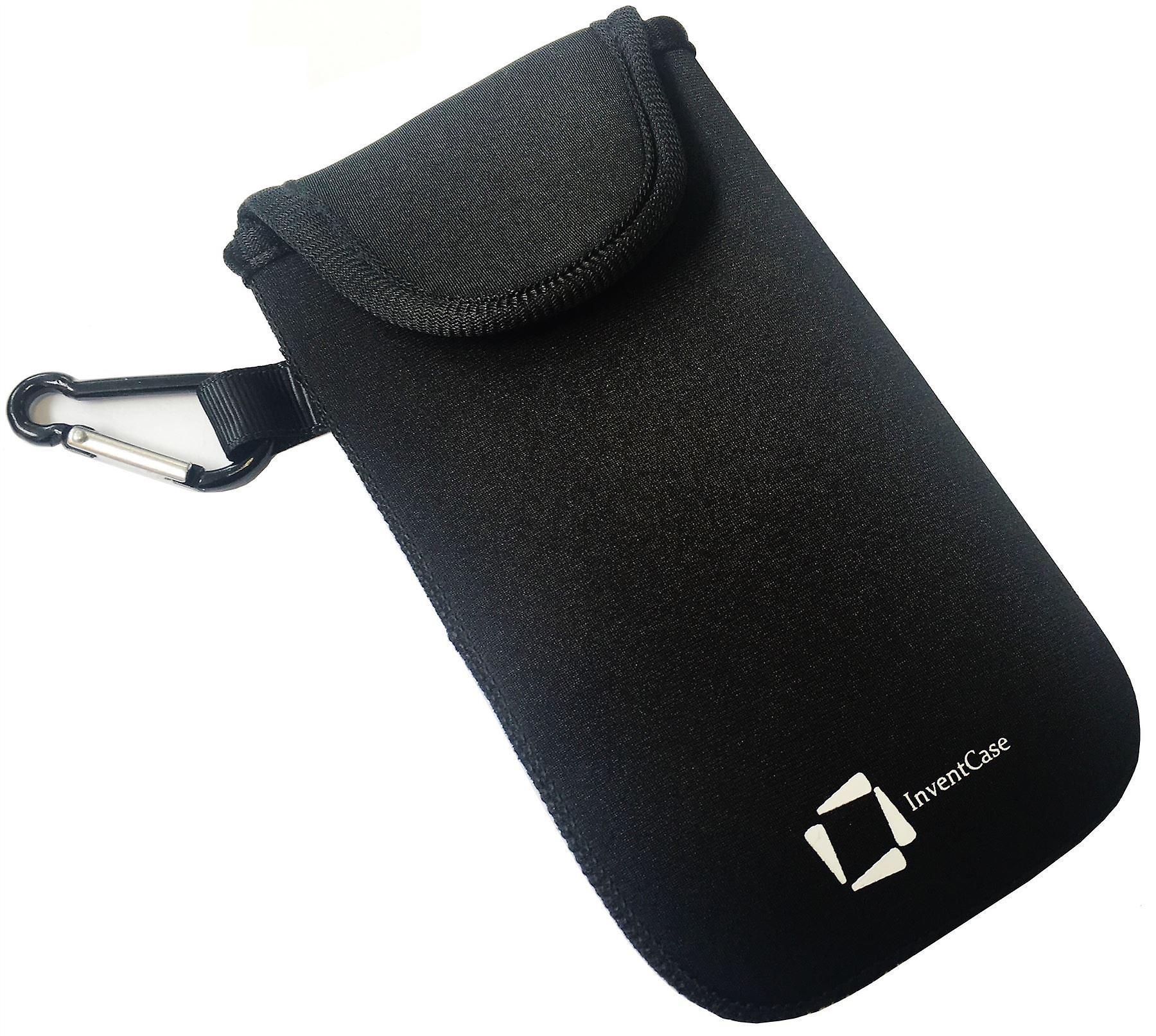كيس تغطية القضية الحقيبة واقية مقاومة لتأثير النيوبرين إينفينتكاسي مع إغلاق Velcro والألمنيوم Carabiner على سوني إريكسون M4 أكوا--أسود
