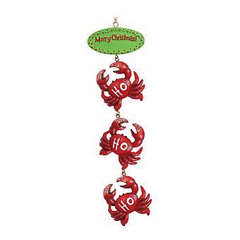 Merry Christmas Ho Ho Ho drie rode krabben kust Holiday Ornament Cape Shore