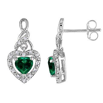 Lab Created Emerald Heart Earrings 1.00 Carat (ctw) with Accent Diamonds in Sterling Silver