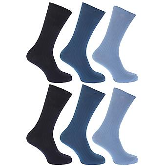 FLOSO Mens Ribbed 100% Cotton Socks (Pack Of 6)