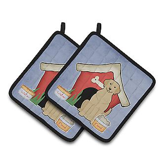 Dog House Collection Yellow Labrador Pair of Pot Holders