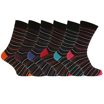 Mens Contrast Heel And Toe Calf Socks (6 Pairs)