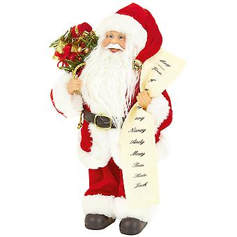 Christmas Shop Standing Santa With List Decoration