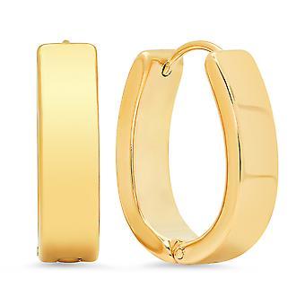Ladies 18K Gold Plated Stainless Steel Classic Oval Hoop Earrings