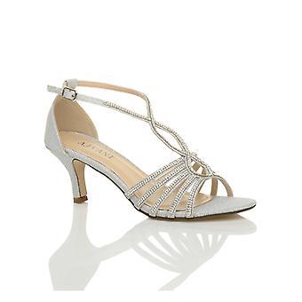 Ajvani womens metà tallone strappy diamante glitter da sposa sera scarpe sandali t-bar