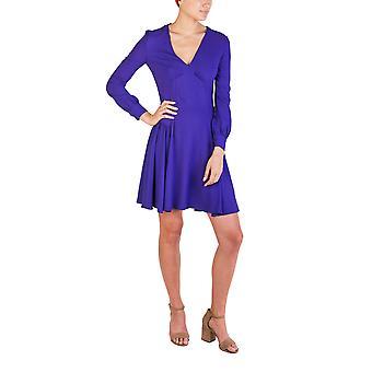 Prada Women's Acetate Viscose Blend Long Sleeve Pleaded Dress Purple