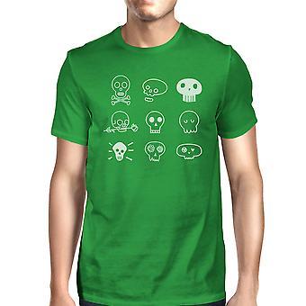 Kranier T-Shirt til Halloween Herre grøn T-shirt kort ærme