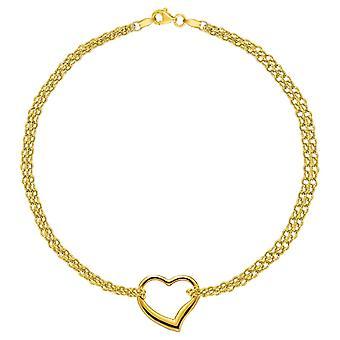 10K Gelb Gold Doppelstrang mit Herz Fußkettchen, 10