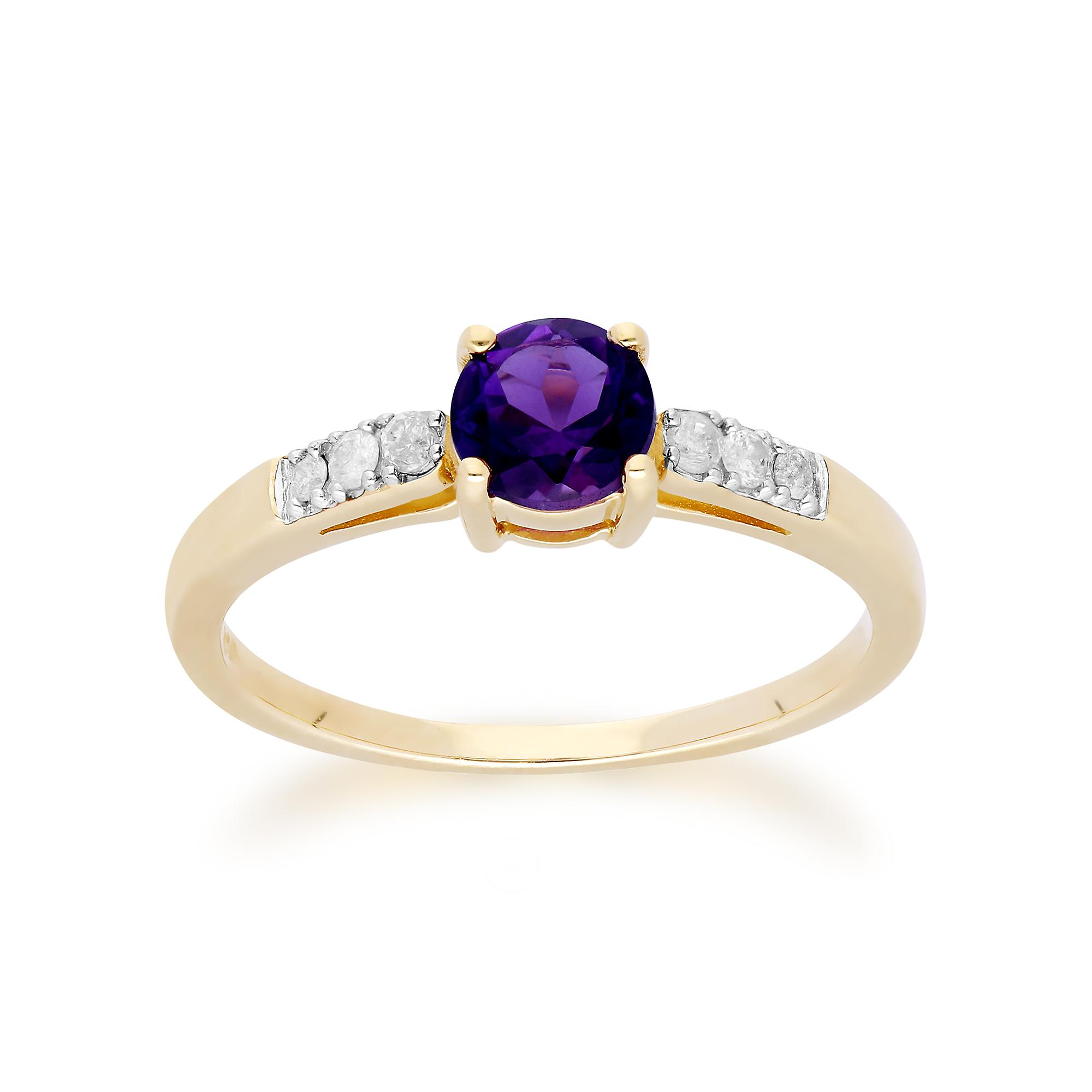 Gemondo 9ct Yellow Gold Amethyst & Diamond Round Cut Ring
