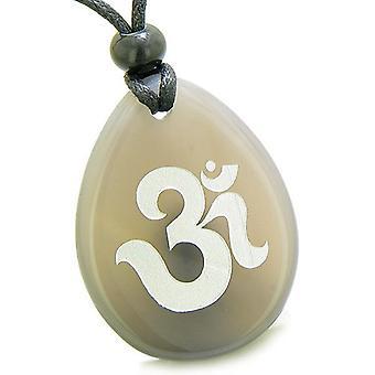 Amulett antika OM tibetanska Symbol magiska och andliga krafter agat önskan Totem hängsmycke halsband