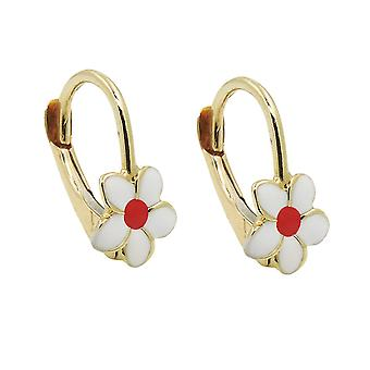 Brisur 13x7mm earring flower white red enamelled 9Kt GOLD