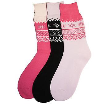 New Ladies SHORT Fairisle Design Warm Thermal Winter boot Socks 4-8 3pk