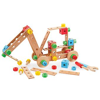 Tidlo Wooden Construction Set with Tools Build Kids Roleplay Builder