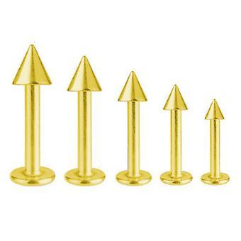 Labret Bar Tragus Monroe Piercing Guld belagte Titanium 1,6 mm med Spike | 5-16 mm