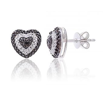 Star Wedding Rings Sterling Silver Heart Earring Set With Black And White Diamonds
