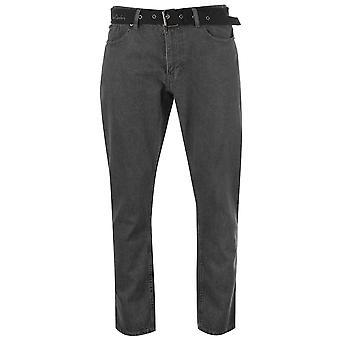 Pierre Cardin Mens Web Belt Jeans Straight Fit Denim Trousers Long Pants Casual